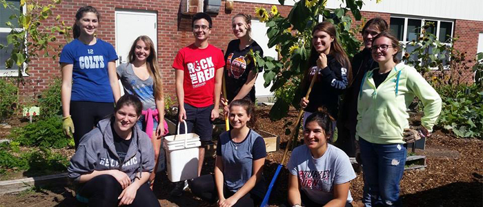Photo of nutrition students at a community service project for Keene Valley Schools
