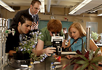 Photo of a professor working with students in the lab