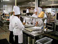 Students preparing food in the kitchen
