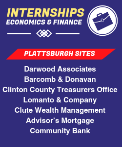 Infographic: Internship sites in Plattsburgh include Darwood Associates, Barcomb & Donavan, Clinton County Treasurers Office, Lomanto & Company, Clute Wealth Management, Advisors's Mortgage, Community Bank