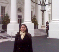 Photo of Gabrielle Equale in front of the White House