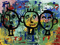 Painting of three stylized people against a colorful abstract background