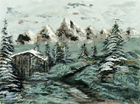 Painting of wooden building and pine forest covered in snow with snow-covered mountains in the background