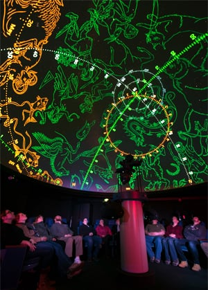 Photo of people watching a show that features a projection of constellations on the planetarium dome