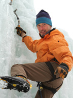Photo of Don Mellor climbing on ice.