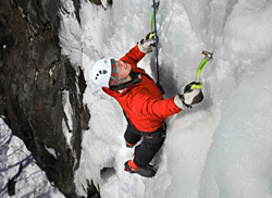 Photo of a student climbing an ice wall