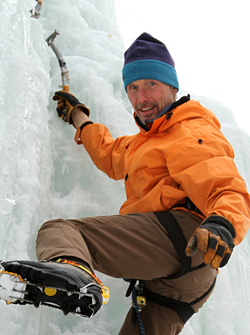 Photo of Don Mellor ice climbing