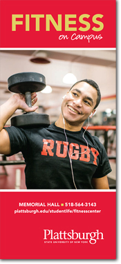 Image of a student lifting weights on the fitness center brochure cover