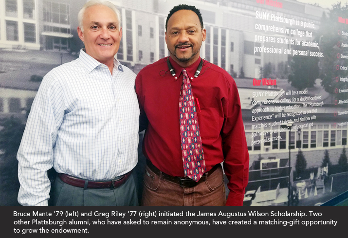 Photo of and Bruce Mane '79 and Greg Riley '77 standing in the Angell College Center