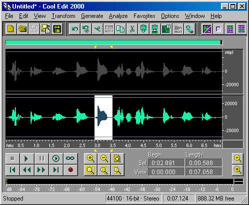 Illustration of CoolEdit window with portion of Right audio track selected