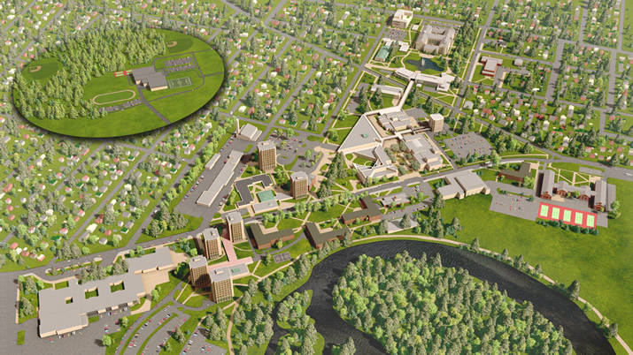 Aerial view of SUNY Plattsburgh Campus. Click on this image to take a virtual tour of the SUNY Plattsburgh campus.