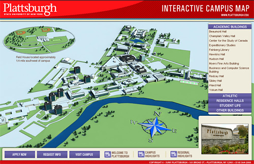Image of aerial view of SUNY Plattsburgh campus. Click on the image to launch virtual campus tour.