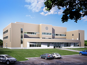 Architectural rendering of new Business and Computer Science Building (front view)