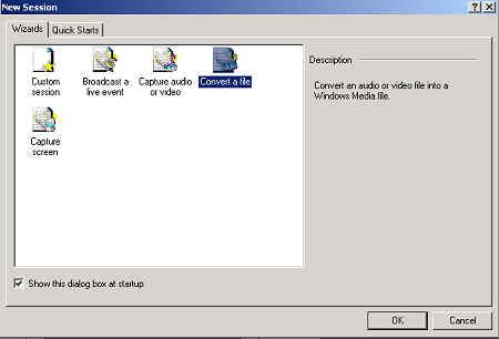 Windows Media Encoder: New Session Options
