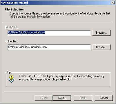 Windows Media Encoder: File Selection Dialog