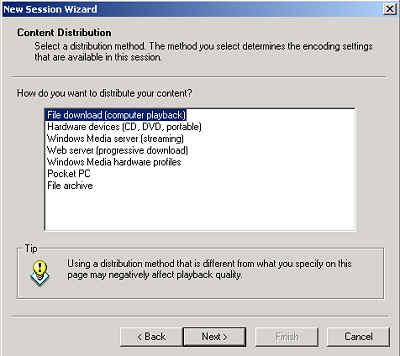 Windows Media Encoder: Content Distribution dialog