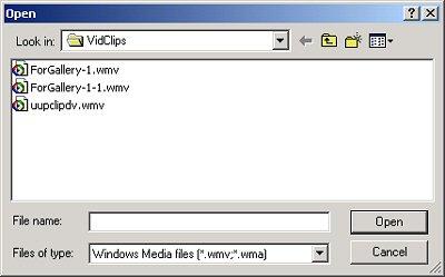 Illustration of the Windows Media File Editor file-open menu