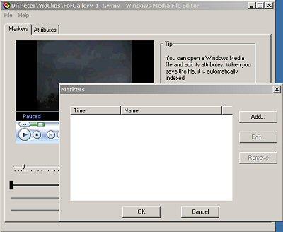 Illustration of Windows Media File Editor - Markers dialog