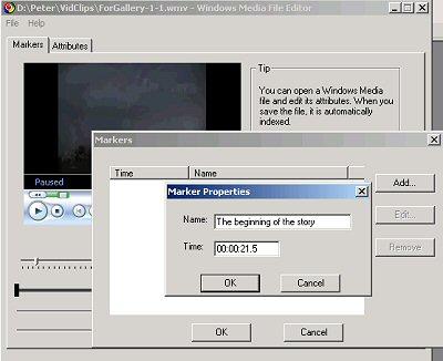 Illustration of Marker Properties dialog in Windows Media File Editor