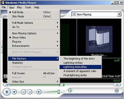 Illustration of View|File Markers option in Windows Media Player