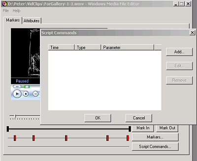 illustration of the Script Commands dialog in the Windows Media File Editor