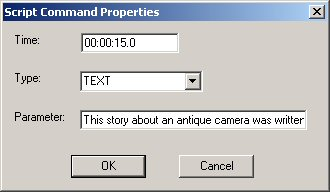 Illsutration of the Script Command Properties dialog in the Windows Media File Editor
