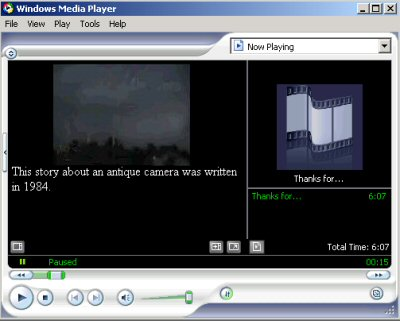 Windows Media Player, showing captions with video.