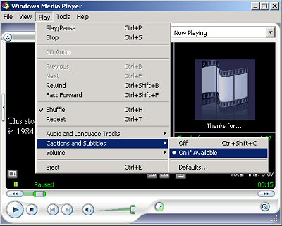 Illustration of Captioning switch in Windows Media Player 9