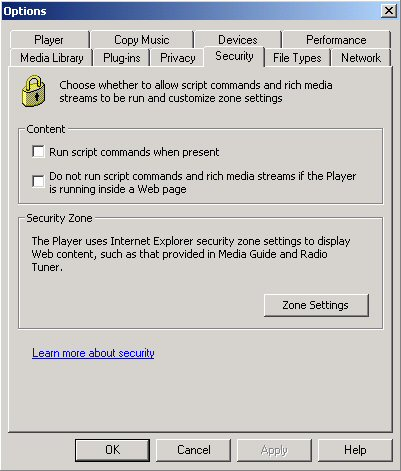 Illustration of the Windows Media Player Security Settings