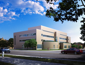 Architectural rendering of new Business and Computer Science Building (back view)