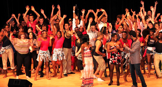 Photo of international students performing on stage at Night of Nations