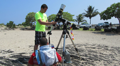 Photo of society members practicing solar tracking