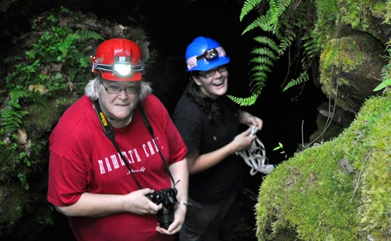 Kathy Lavoie and a student in a cave