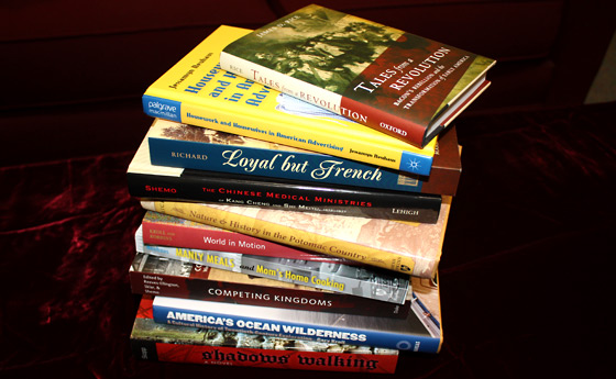 Photo of books published by professors of the SUNY Plattsburgh history department
