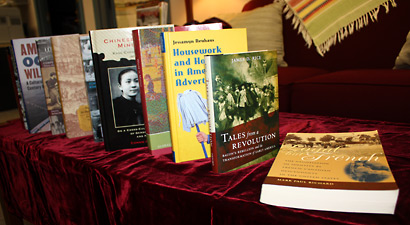 Photo of books published by history department faculty