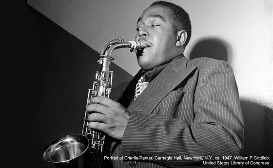 Photo of Charlie Parker. Image used courtesy of William P. Gottlieb and the Library of Congress