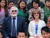 Photo of Drs. Richard and Zoanne Schnell with counselors in Bhutan.