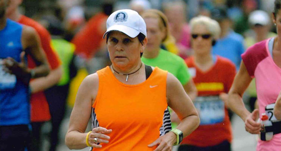 Photo of Nancy Elwess running in the Boston Marathon.