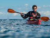 Photo of Gary Goldfinger kayaking in the Sea of Cortez off the coast of Baja, Mexico.