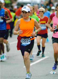 Photo of Nancy Elwess at the Boston Marathon
