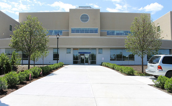 Photo of the main entrance to the new Business and Computer Science building