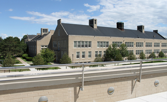 Photo showing view of the campus from the terrace of the new Business and Computer Science building