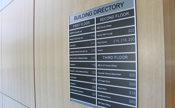 Photo of the office directory in the new Business and Computer Science building