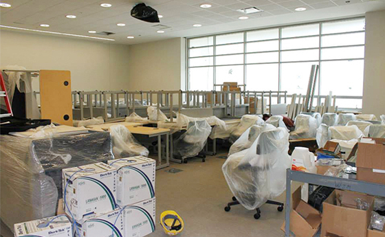 Photo of lab space in the new Business and Computer Science building