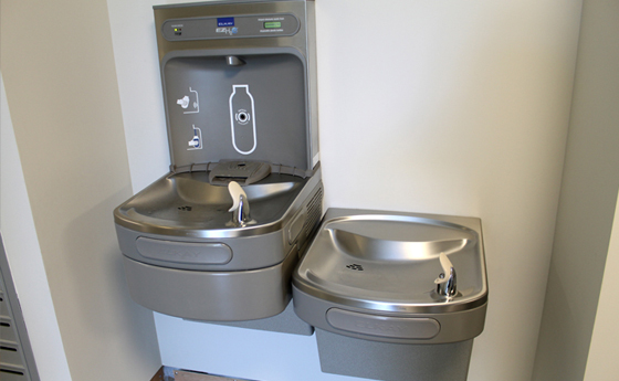 Photo of drinking fountain in the new Business and Computer Science building