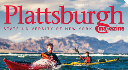 Spring 2013 Plattsburgh Magazine cover showing kayakers in Baja, Mexico.