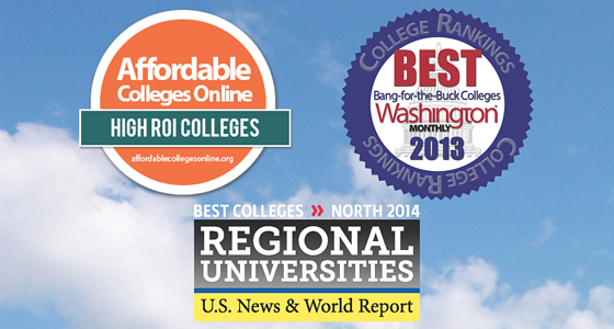 Badges from Affordable Colleges Online, Washington Monthly and U.S. News & World Report.