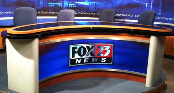 Photo of TV news set donated by WXXA Fox23