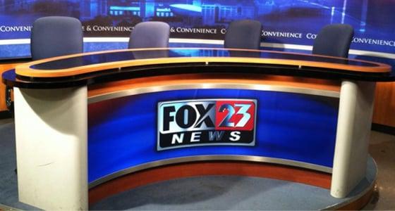 Photo of TV news set donated by WXXA Fox23