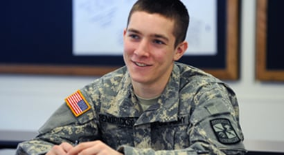 Photo of ROTC student in military studies class
